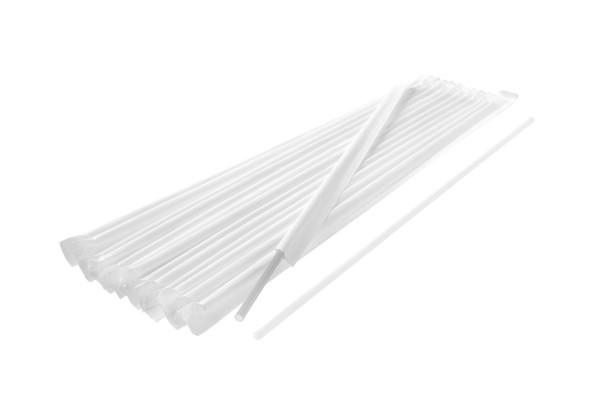 Papiergehüllte Trinkhalme Gerade, 7,5x240 mm, weiss 250 Stk./Beutel (*)