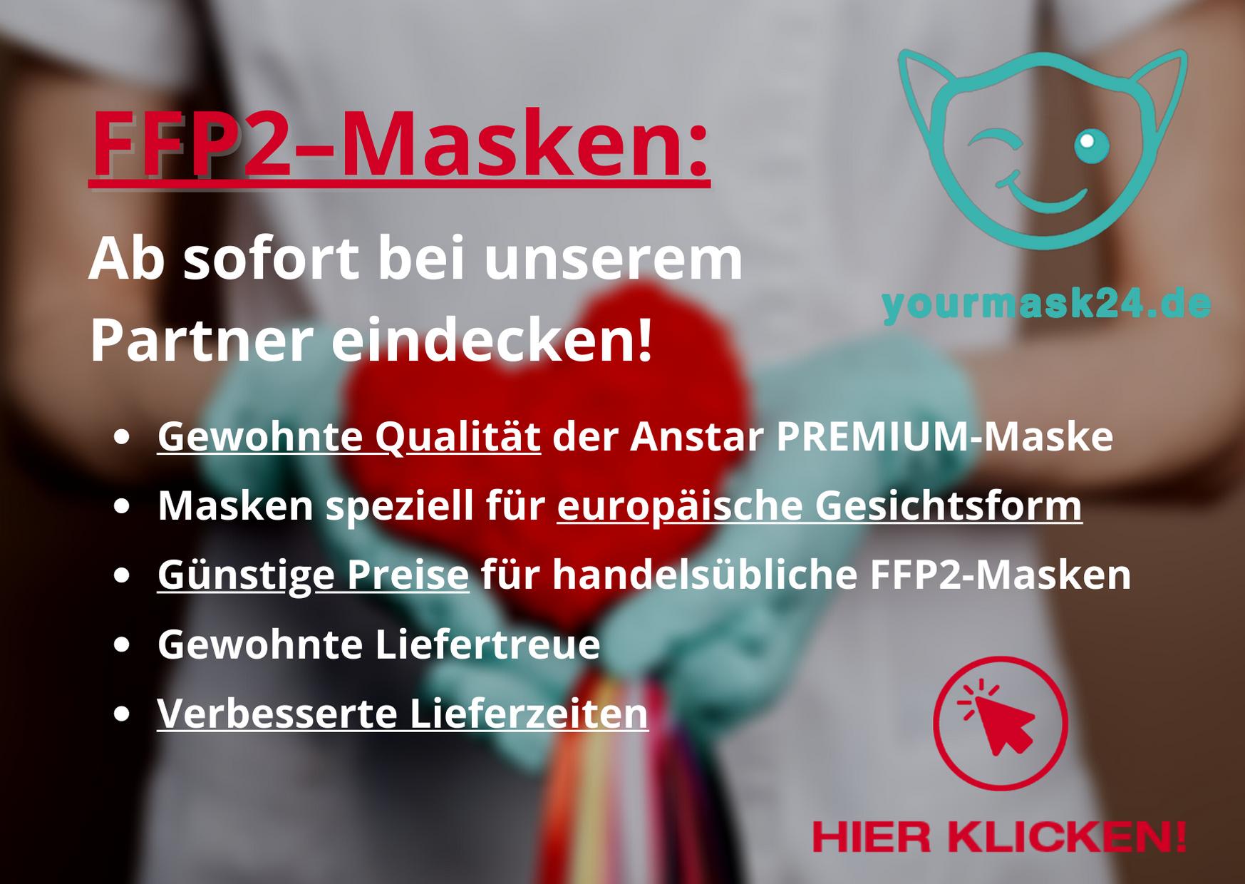 FFP2-Masken ab sofort bei unserem Partner yourmask24.de