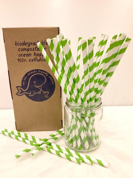 Trinkhalme aus Papier - 6x205mm - grüne Streifen 250 Stk./Box*