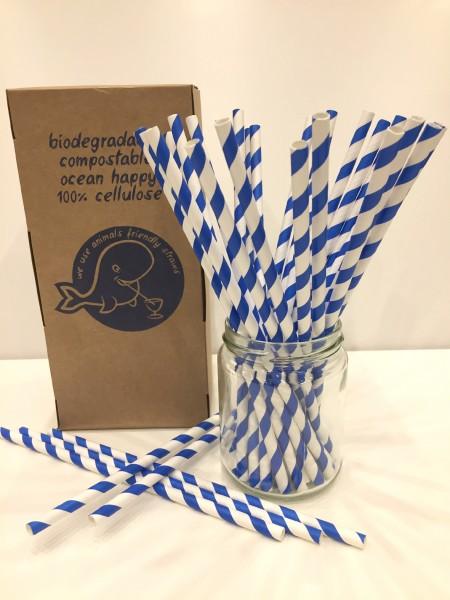 Trinkhalme aus Papier - 6x205mm - blaue Streifen 250 Stk./Box*