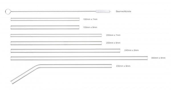 Glastrinkhalm Knick gehärtet 9x230mm, 200Stk./Box*