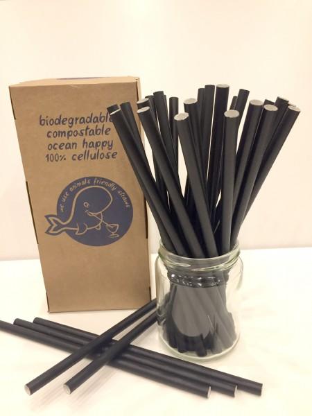 Papier-Trinkhalme Caipi, 8x150mm, schwarz 420 Stk./Box*